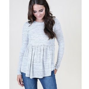 Altar'd State striped tee with ruffle hem